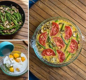 This crustless quiche comes togehter in no time. With mushrooms, asparagus, shredded potato, thyme and rosemary seasonings. Vegetarian, gluten free, dairy free, and whole30