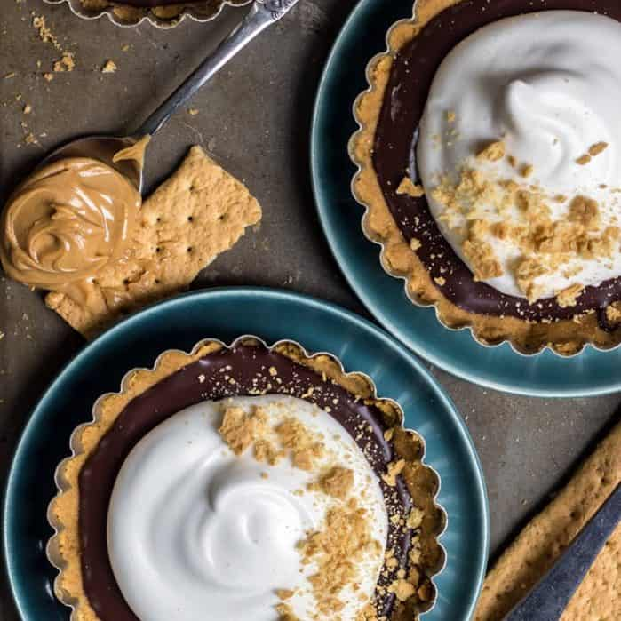 No-Bake Peanut Butter Cup S'mores Tarts . Dairy-free and Gluten-free friendly!