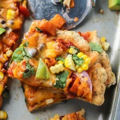 Sweet Potato Black Bean Mexican Pizza