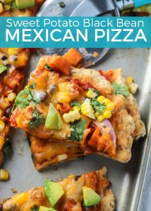 This Sweet Potato Black Bean Mexican Pizza is loaded with veggies. Uses salsa for the sauce and is so easy and tastes amazing!