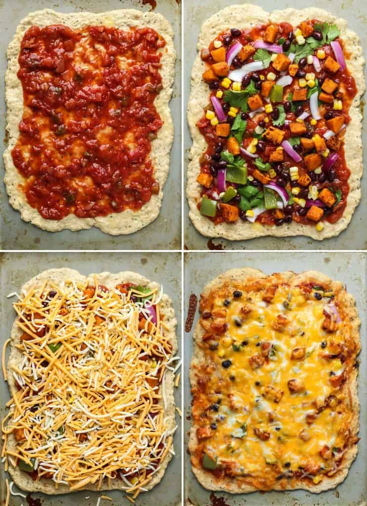 steps to make sweet potato mexican pizza on flatbread