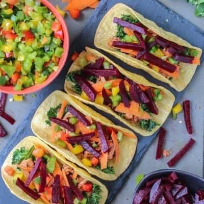 Healthy Spicy Beet BBQ Pork Tacos