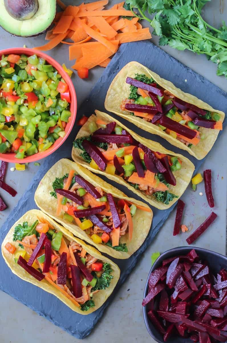 Easy and healthy Spicy BEET BBQ PORK TACOS!