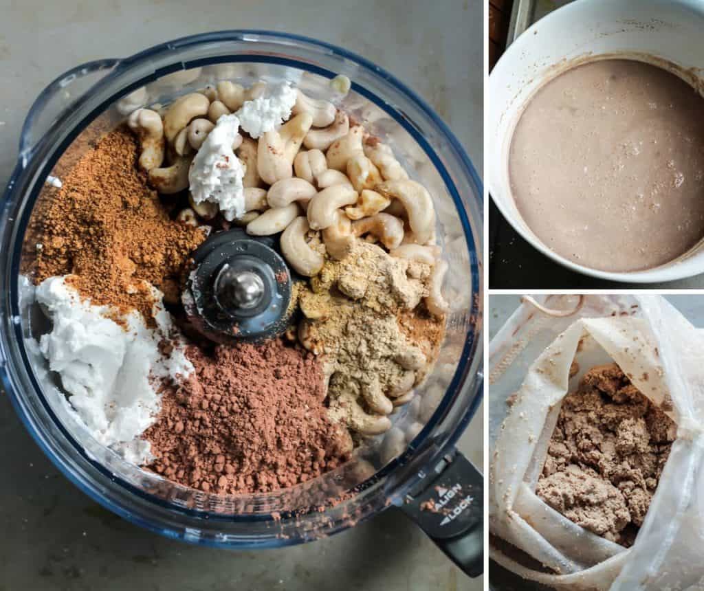 Making homemade nut milk is easy! All of your ingredients go into a blender or heavy duty food processor, then the mixture gets strained, That's pretty much it!