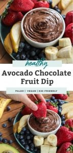 avocado chocolate fruit dip with bananas blueberries and apples on tray