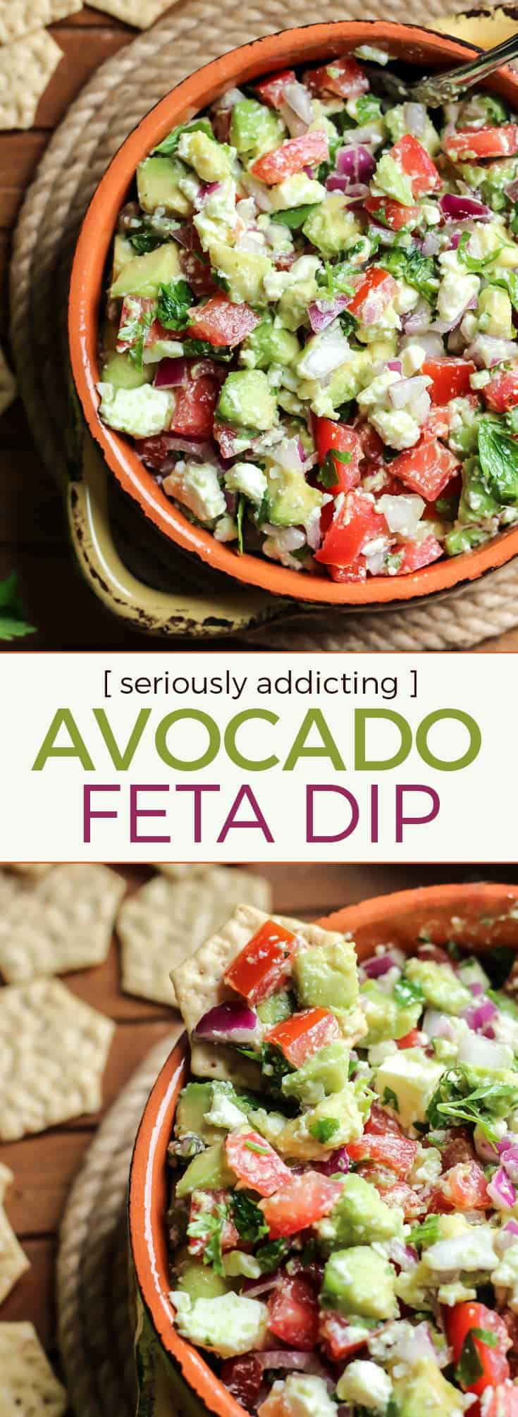 Easy Avocado Feta Dip pinterest image fit mitten kitchen