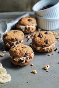 Chunky Monkey Ice Cream Cookie Sandwiches. With paleo cashew butter cookies! Use your favorite banana ice cream!