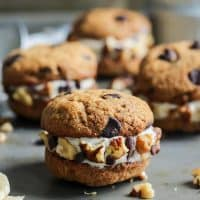 Chunky Monkey Ice Cream Cookie Sandwiches