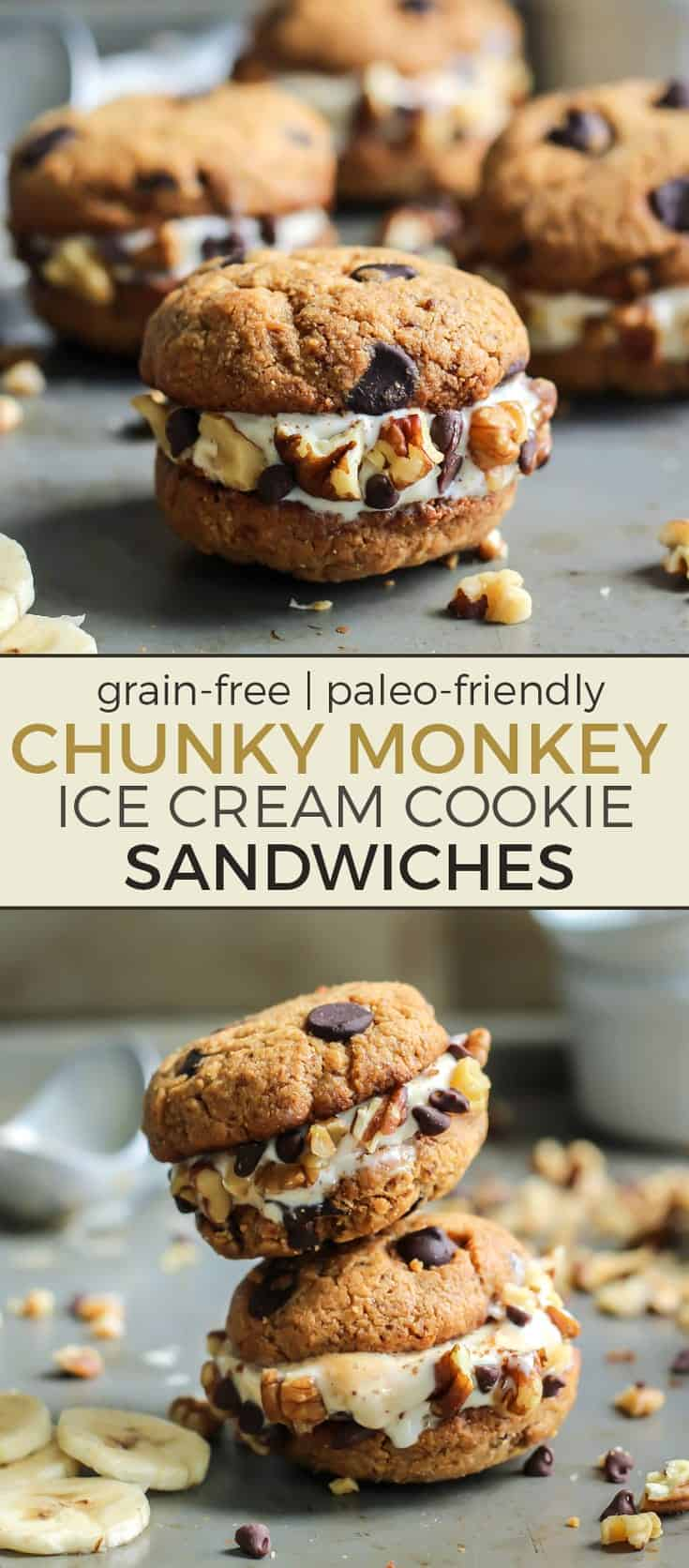 These Chunky Monkey Ice Cream Cookie Sandwiches are too good! The cookies are grain-free and paleo, and you use your favorite banana ice cream for a dairy-free friendly treat!