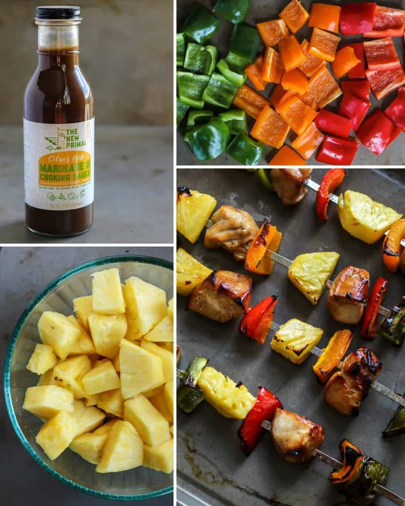 chopped bell peppers and pineapples for skewer kabobs