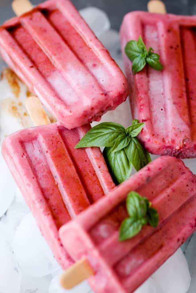 Strawberry Basil Popsicles