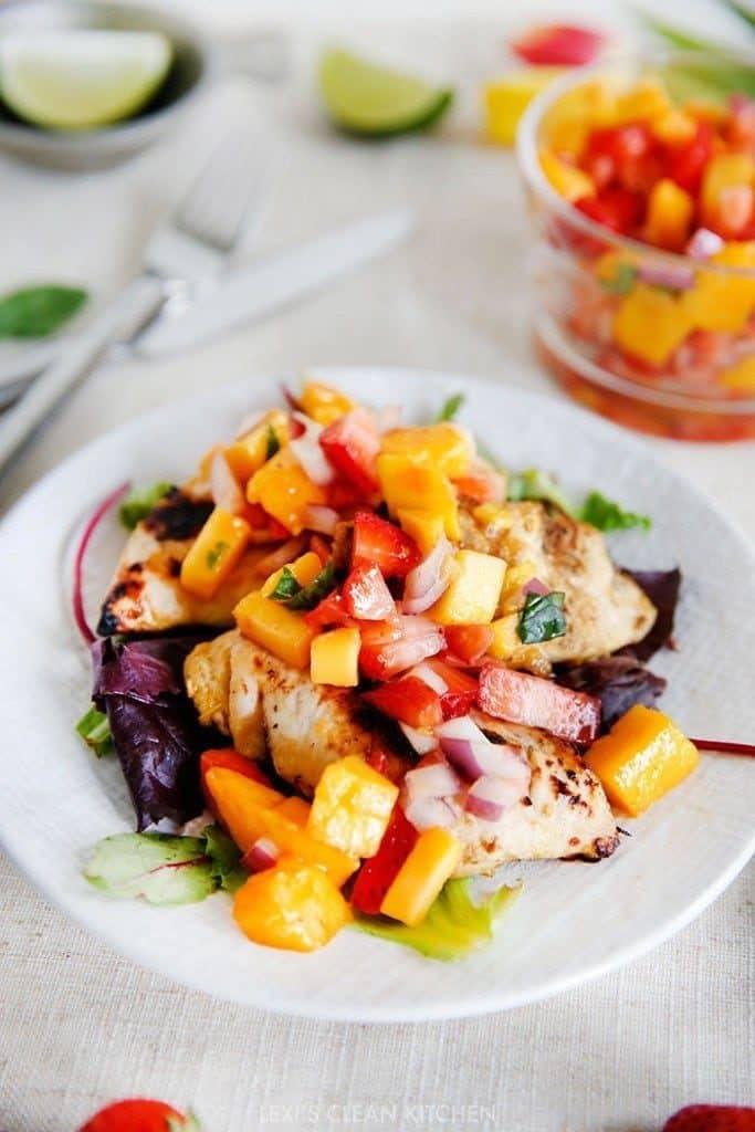 Mango Chicken Salad with Strawberries