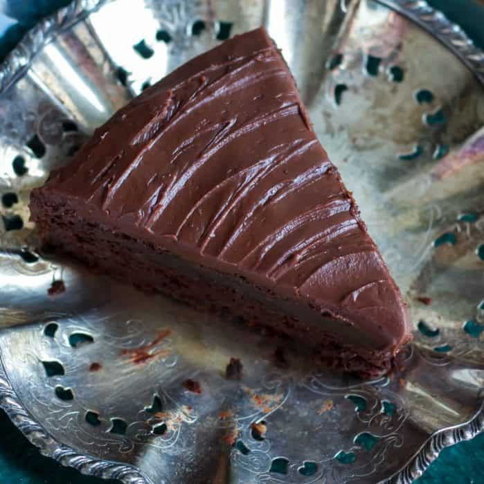 slice of greek yogurt chocolate mocha cake on silver platter