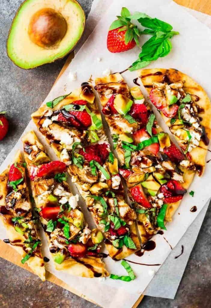 Naan Pizza with strawberries, balsamic and avocado