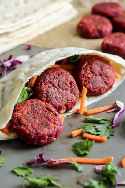 Beet Falafel Pitas with Ginger Tahini Sauce [ vegan, gluten-free ]