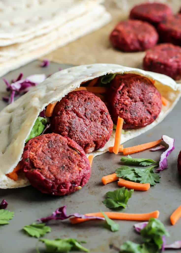 Healthy Vegan Beet Falafel! Serve in a loaded pita for a satisfying meal
