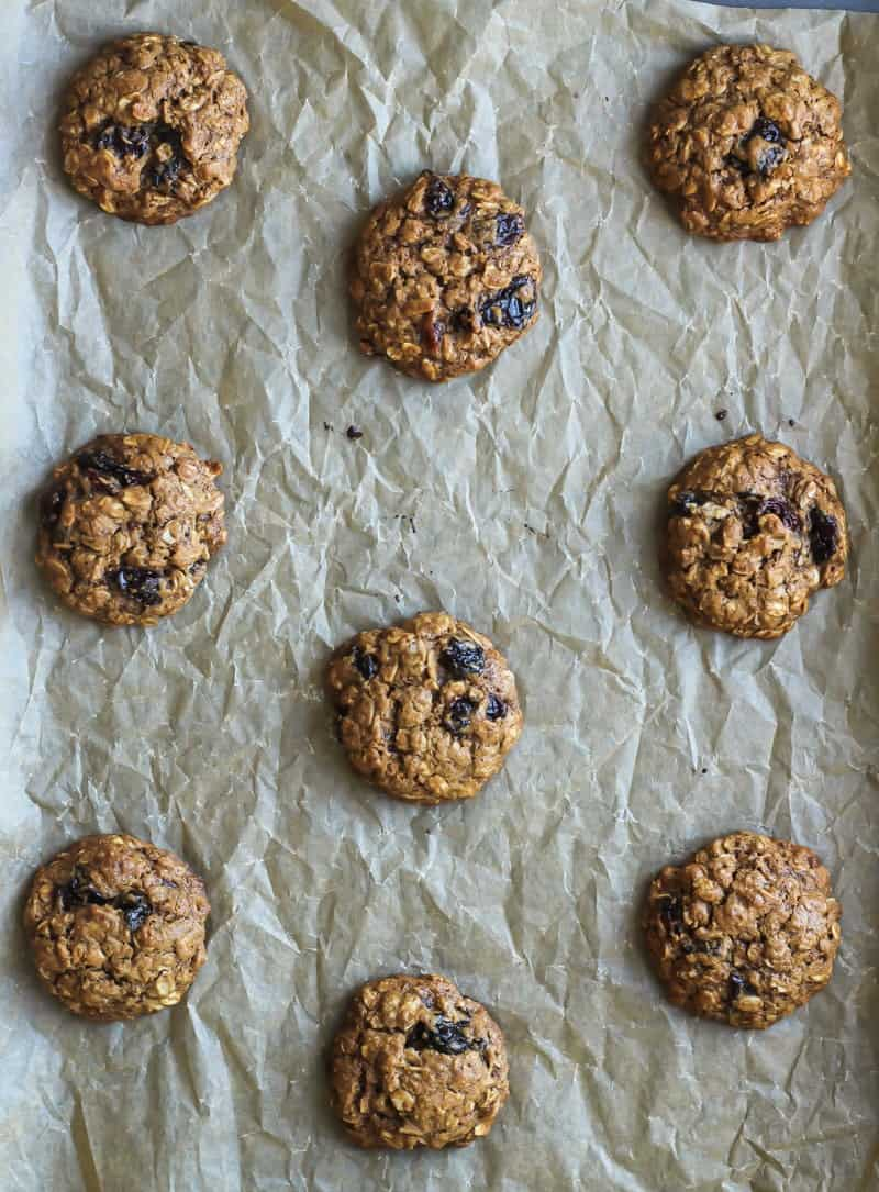 The way to place your cookies on a baking sheet so they don't spread into each other! | Chewy Cherry Oatmeal Cookies | Fit Mitten Kitchen