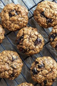 Cherry oatmeal cookies on a cooling rack