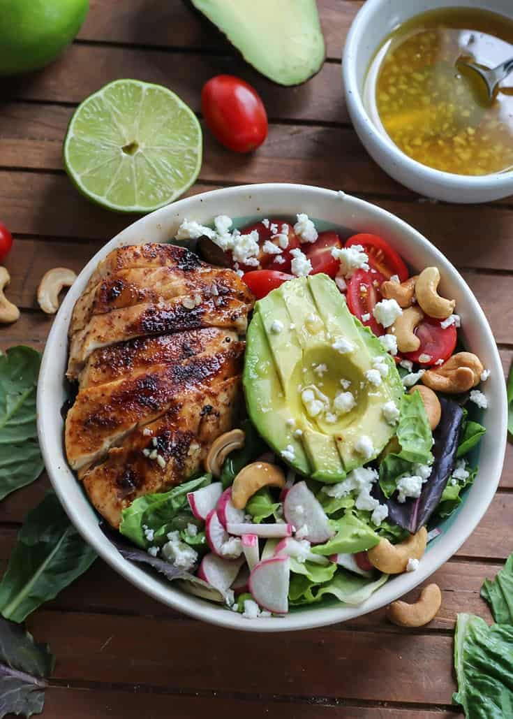Grilled Honey Lime Chicken Salad with simple vinaigrette!
