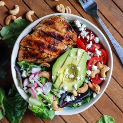 Grilled Honey Lime Chicken Salad with easy vinaigrette. Gluten-free, paleo-friendly.