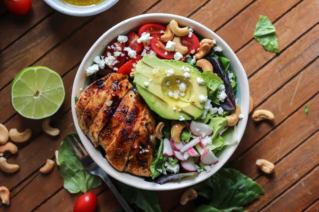 Grilled Honey Lime Chicken Salad with ALL of the toppings!
