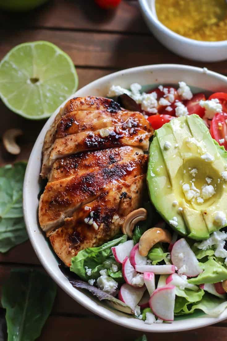 This Grilled Honey Lime Chicken Salad is loaded with texture and flavor.