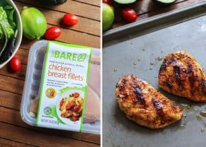 BARE package of chicken breasts and chicken on baking sheet