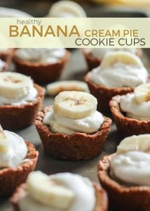 A healthy spin on a classic pie flavor: Gluten-free Banana Cream Pie Cookie Cups! Made with simple ingredients you can feel good about.