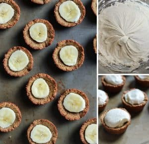 These healthy Banana Cream Pie Cookie Cups are grain-free and paleo-friendly! Simple ingredients and a healthy dessert.