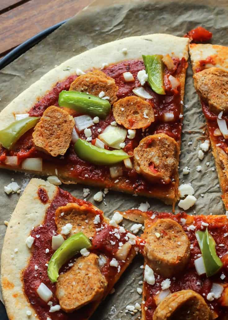 Add your favorite toppings to this Paleo Pizza Crust!