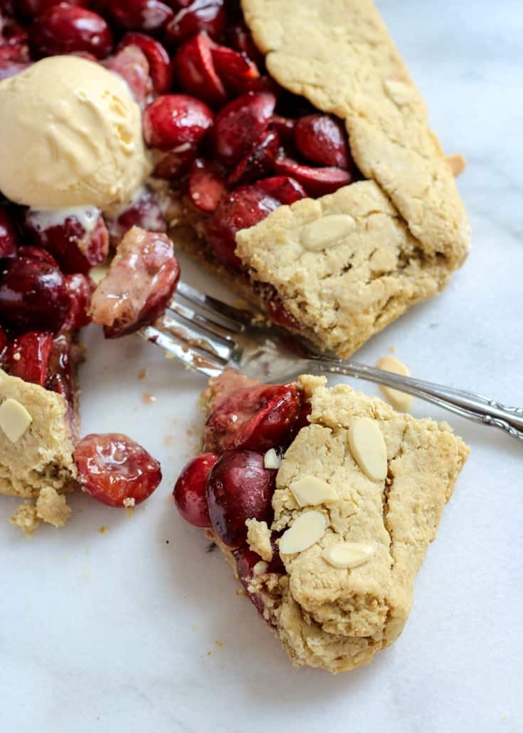 Grain-free Rustic Cherry Galette. This recipe is gluten-free and paleo! Serve it with your favorite ice cream for a healthier treat.
