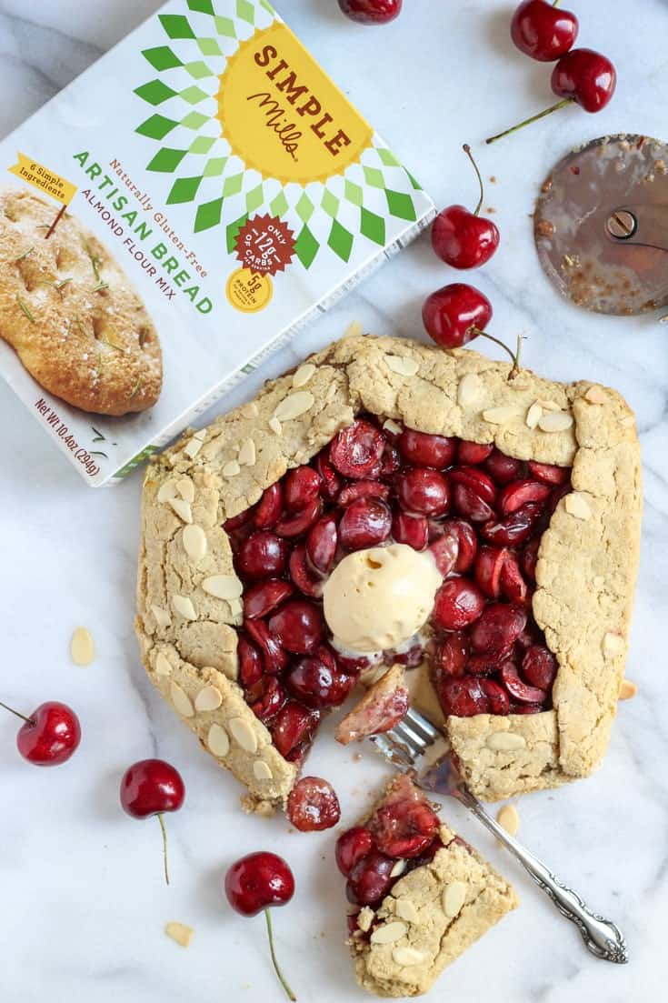 a Grain-free Rustic Cherry Galette with Simple Mills box