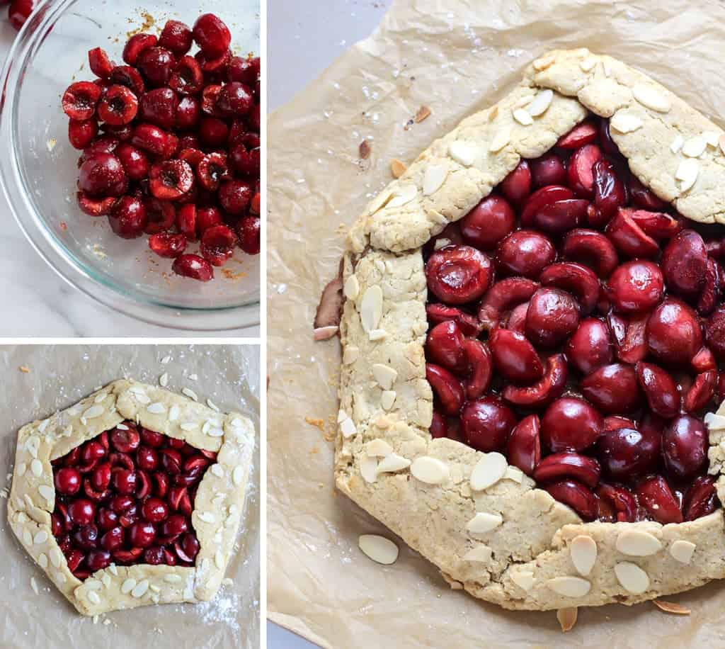 Making a galette in clear bowl callage with baked cherry pie on parchment paper