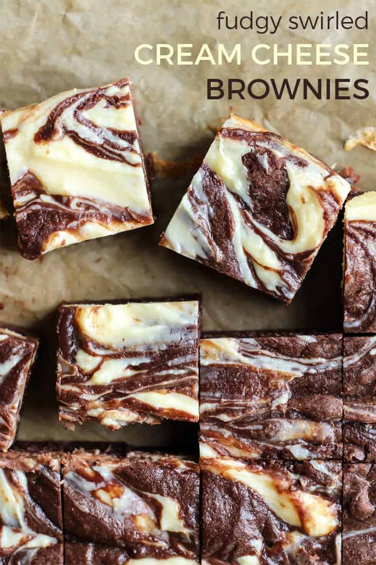 Deliciously fudgy cream cheese brownies. These are slightly lightened up compared to your traditional recipe. A little less butter and sugar, and whole grain flour. You'd never know though because these are still really rich!
