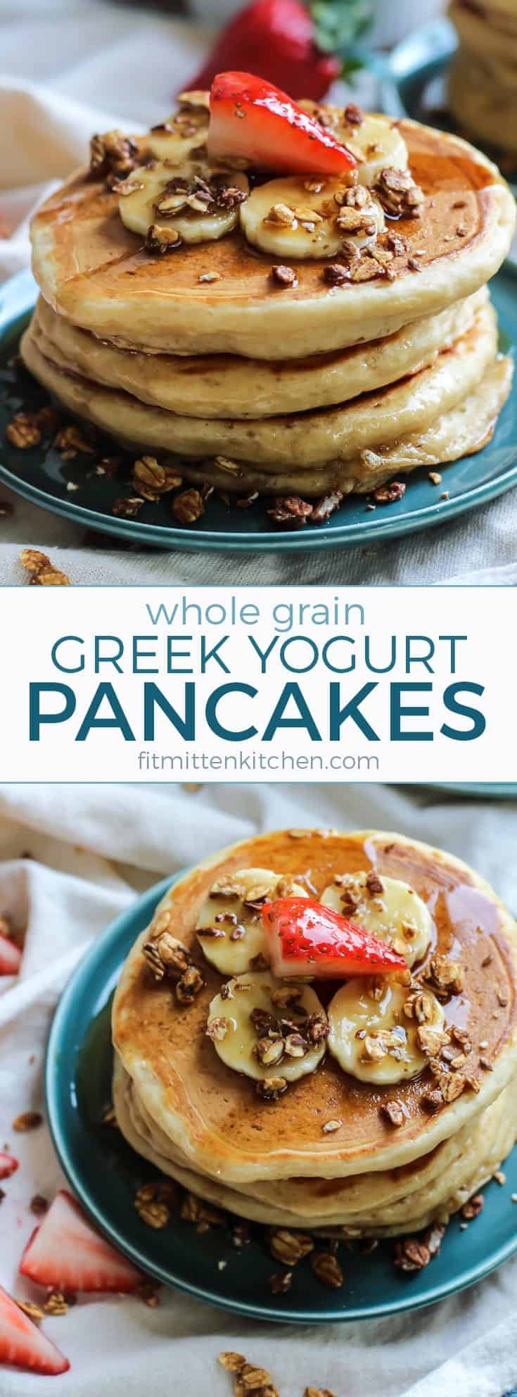These Whole Grain Greek Yogurt Pancakes are easy, simple and just what your weekend needs! Make a big batch to freeze and you can enjoy pancakes all week long. Simple recipe with pantry staples!!