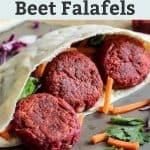3 beet falafels in pita
