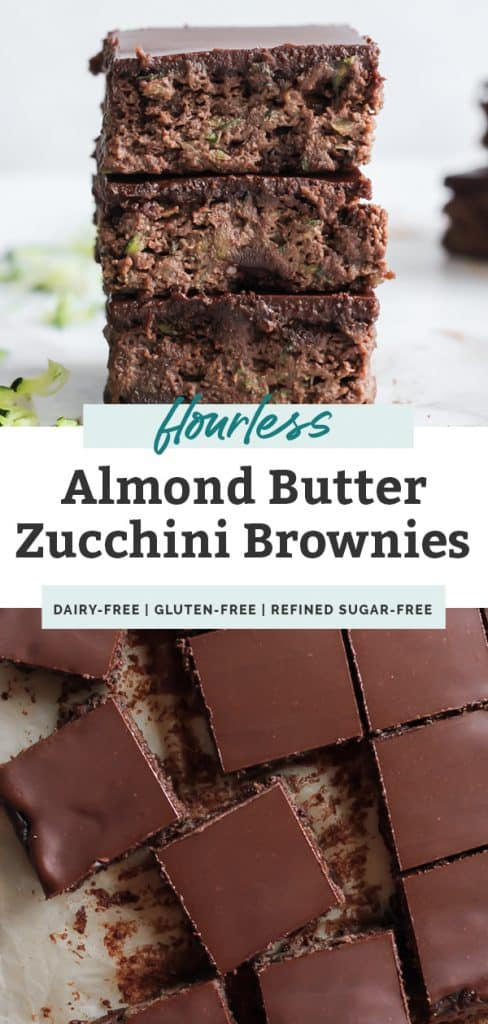 stack of three zucchini brownies and brownie squares with text overlay