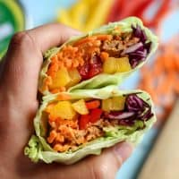 holding cabbage wraps with chili lime tuna, carrots and peppers