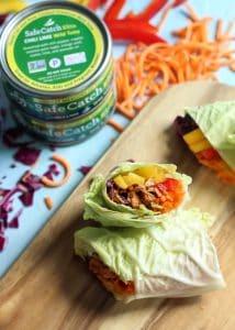 Quick and easy Chili Lime Tuna Napa Cabbage Wraps