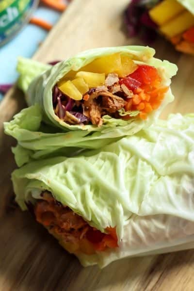 Chili Lime Tuna Napa Cabbage Wraps with Cashew Curry Sauce