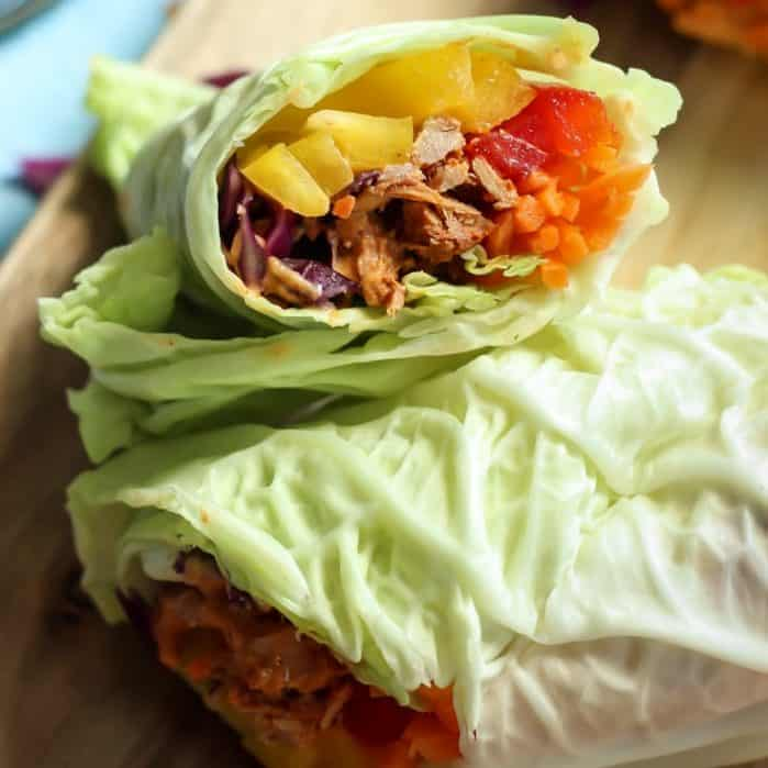 Tuna Cabbage Wraps stacked on cutting board