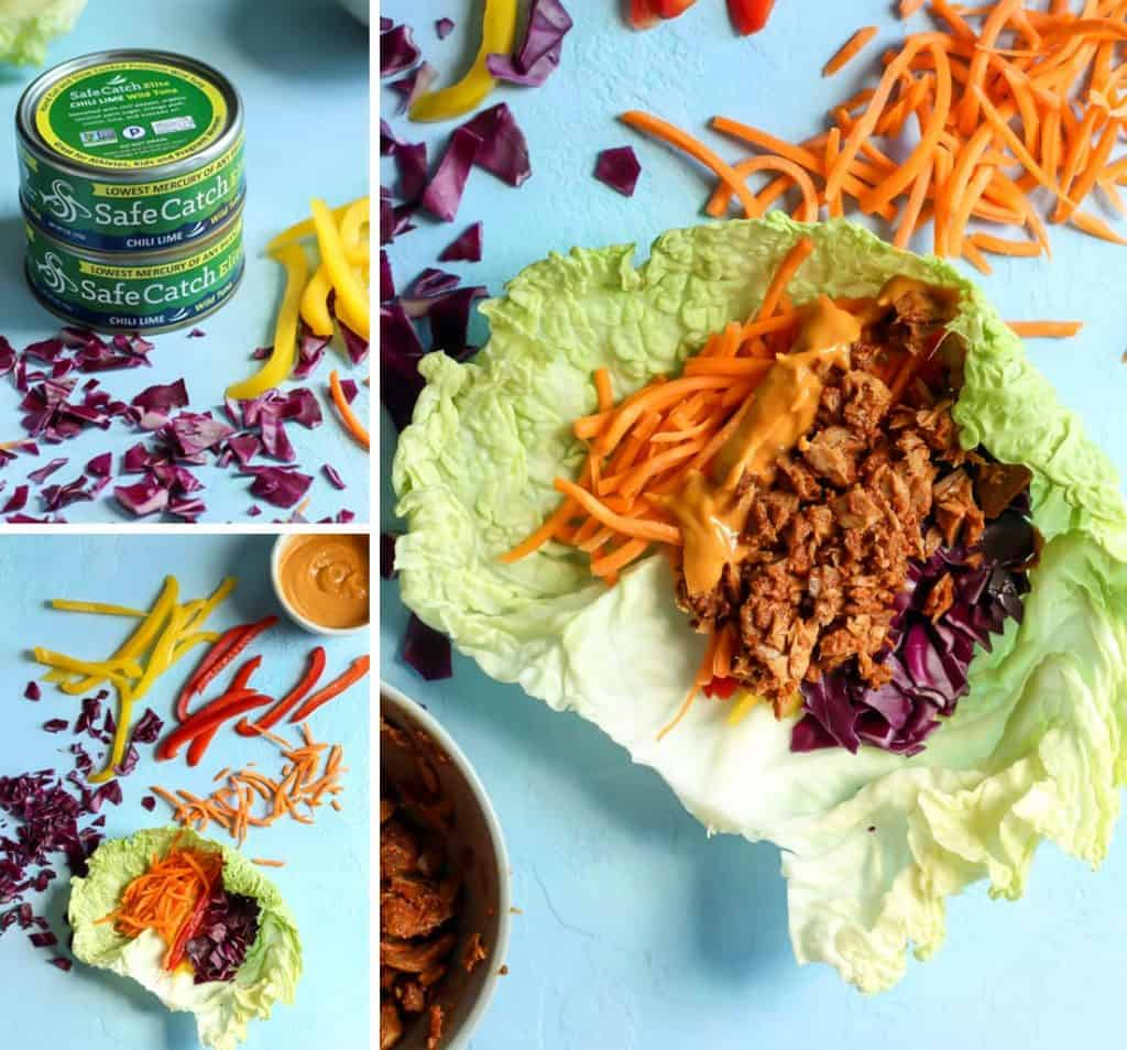 Chili Lime Tuna Napa Cabbage Wraps for a healthy meal! Gluten free, dairy free and paleo. (Whole30 friendly too!)