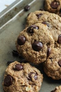 """NEW FAVORITE COOKIE! Espresso Almond Butter Oatmeal Cookies! Gluten free and dairy free. Try subbing a chia seed """"egg"""" for vegan!"""