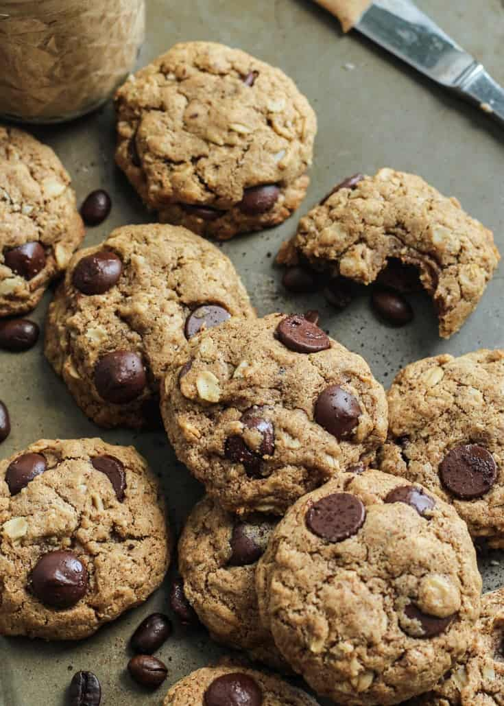 Espresso Chocolate Chip Almond Butter Cookies. Made gluten free and dairy free. Vegan-friendly.