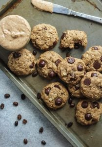Espresso Chocolate Chip Almond Butter Oatmeal Cookies! Perfect with breakfast. Gluten free and dairy free too.
