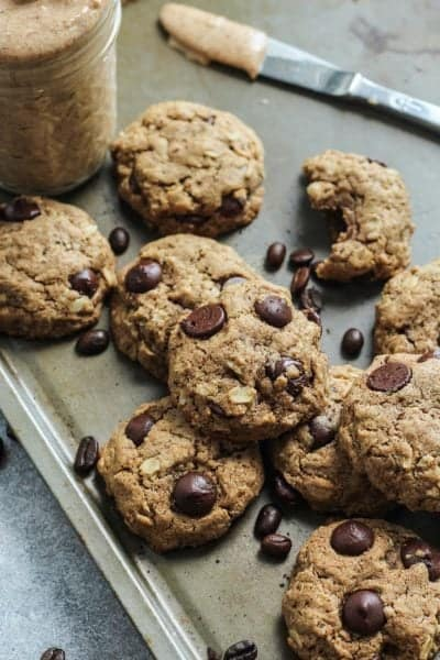 Espresso Chocolate Chip Almond Butter Oatmeal Cookies