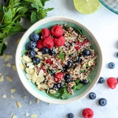 Honey Lime Berry Quinoa Salad with Mint