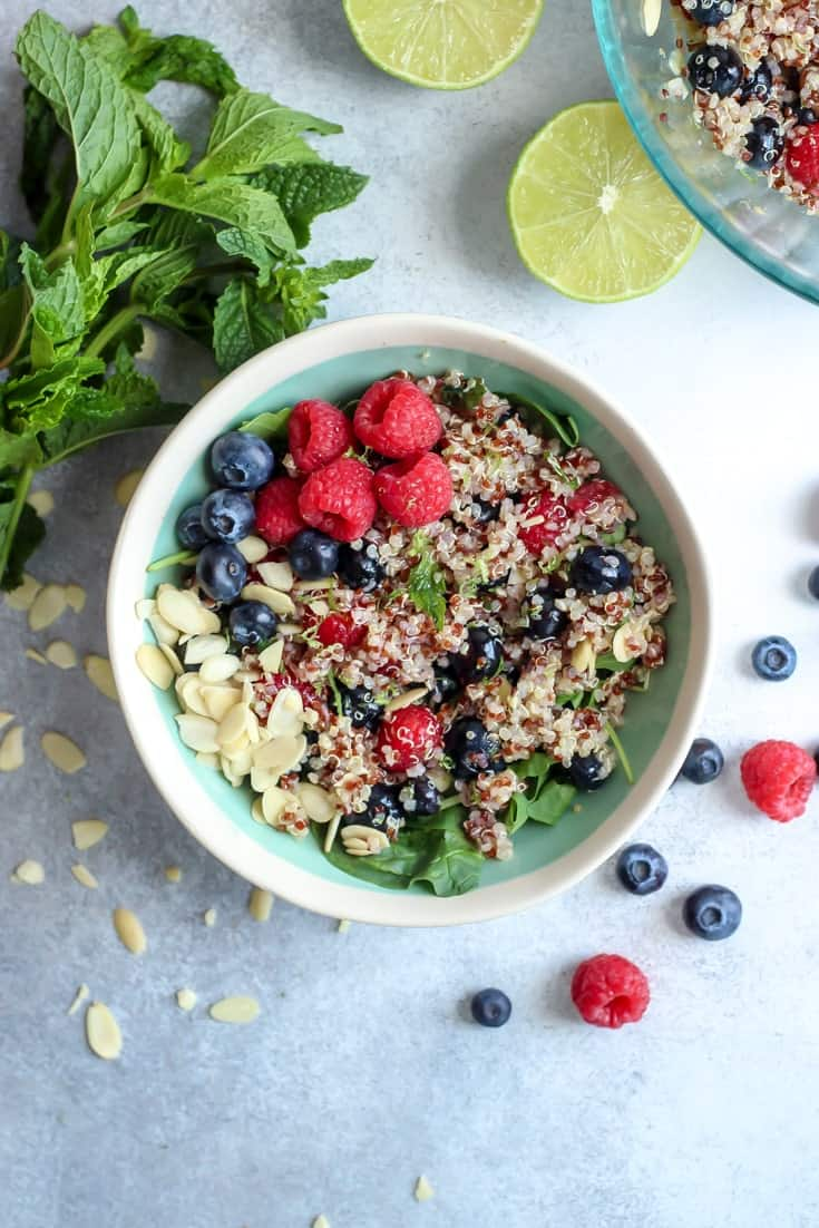Honey Lime Berry Quinoa Salad with fresh mint. Naturally gluten-free, vegan-friendly and healthy!