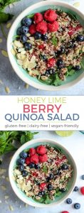 """Put this Honey Lime Berry Quinoa Salad on your """"EASY and HEALTHY"""" recipe list! Naturally gluten-free, dairy-free, vegan-friendly."""