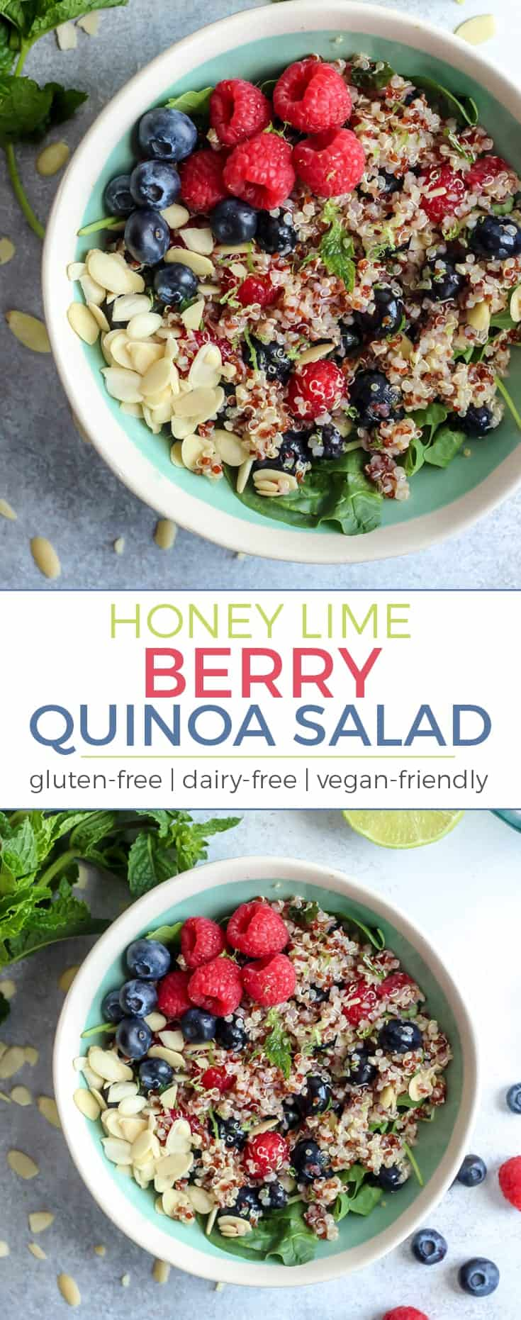 "Put this Honey Lime Berry Quinoa Salad on your ""EASY and HEALTHY"" recipe list!  Naturally gluten-free, dairy-free, vegan-friendly."